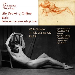 11/7/2020 | 2-4 p.m : Live Tutored Life Drawing on Zoom with model Claudio